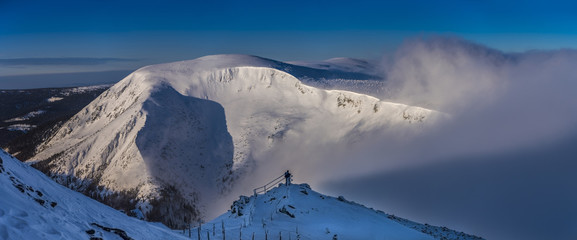 Fototapeta Beautiful landscape of winter Karkonosze mountains, Panorama obraz