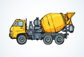 Concrete mixer. Vector drawing