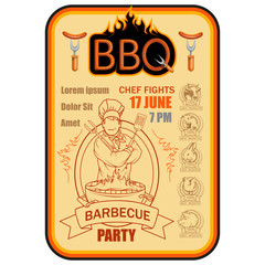 BBQ Grill. Сooking meat on fire. Barbecue Party. Bbq logo.
