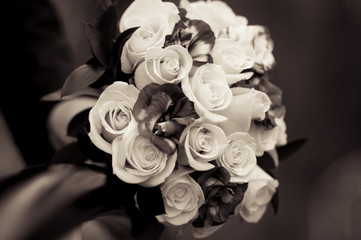 Wedding flowers bridal bouquet of white roses