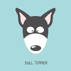 Portrait of Bull Terrier puppy. Art of dog face. Vector Illustration.