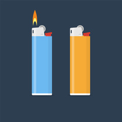 Lighter vector illustration in flat style. Gas lighter with a bu