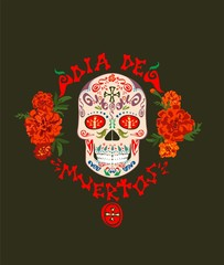 T-shirt print with mexican sugar skull,  dia de muertos hand drawing lettering and marigold for day of death on black background