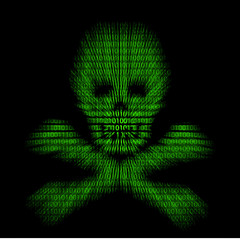 Abstract symbol danger cyber skull and bones.