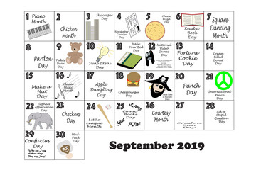 September 2019 Quirky Holidays and Unusual Events