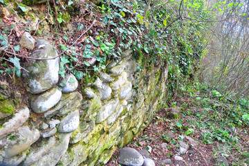 The old fortification wall of the Baga fortification. Volkonka, Sochi, Russia