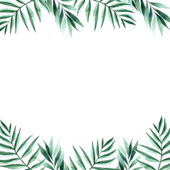 Watercolor hand painted tropical frame.