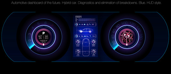 Car service in the style of HUD, Cars infographic ui, analysis and diagnostics in the hud style, futuristic user interface, car service HUD. dashboard