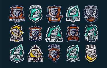 A large colorful collection of emblems, logos, icons of a howling, roaring wolf. A dangerous beast, a wild predator, a forest dweller. Vector illustration isolated on background