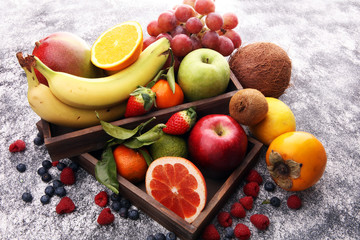 Fresh fruits. Mixed fruits background. Healthy eating, dieting, love fruits.
