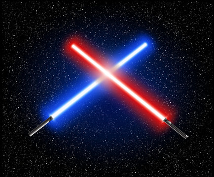 Two crossed light swords - blue and red crossing laser lightsabers vector illustration
