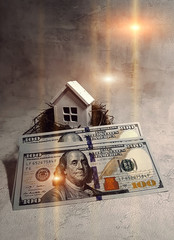 Buying, selling a house, a white house in a nest on the background of dollars at sunset. Your house is an investment.