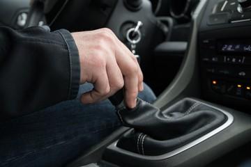 Hand on the car gear. Slovakia