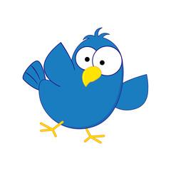 Funny cartoon blue bird. Vector illustration isolated on white b