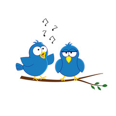 Cute acrtoon blue birds couple sitting on the brunch. Vector ill