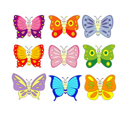 Set of 9 cartoon butterfly. Vector illustration isolation on whi