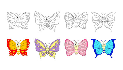 Coloring book page for preschool children with colorful butterfl