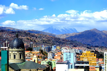Cityscape of La Paz, Capital of Bolivia with Illimani Mountain rising in the background