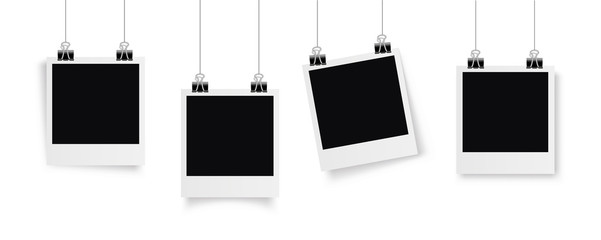Set Photo frame hanging on a clip. Retro vintage style. Retro Photo Frame Template for your photos. White plastic border on a transparent background. - stock vector.