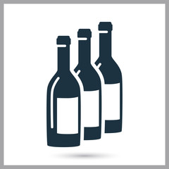 Bottles of wine in a row simple icon
