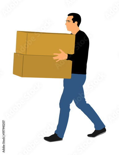 delivery man carrying boxes of goods post man with package
