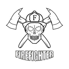 Firefighter logo. Fire Department. Skull with firefighter helmet.