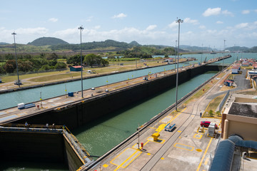 Empty Miraflores Locks, Panama Canal, Panama City