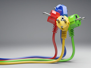 Group colour electric plug with long wires.