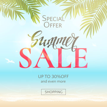 Summer sale banner with text, beach, sea, sun, waves and palm leaves. Vector travel background for flyers and newsletters with discount offers. File contains clipping mask.