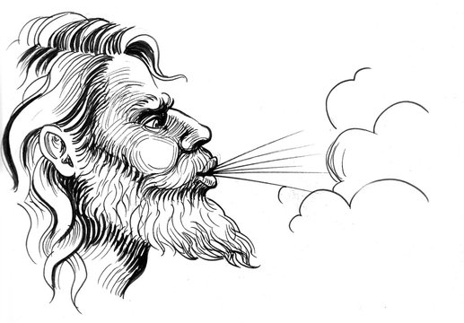 Ink black and white illustration of a God of winds