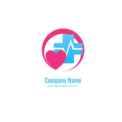 Logo design abstract medical vector template. Illustration design of logotype cross health symbol, people care sign.