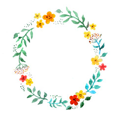 Floral circle wreath with cute flowers. Watercolor hand painted border