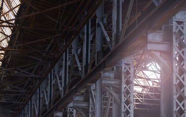 Background of an interior of an abandoned metallurgical plant