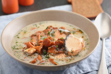 Finnish fish and mushroom soup