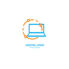 Vector stock logo, abstract digital technology vector template.