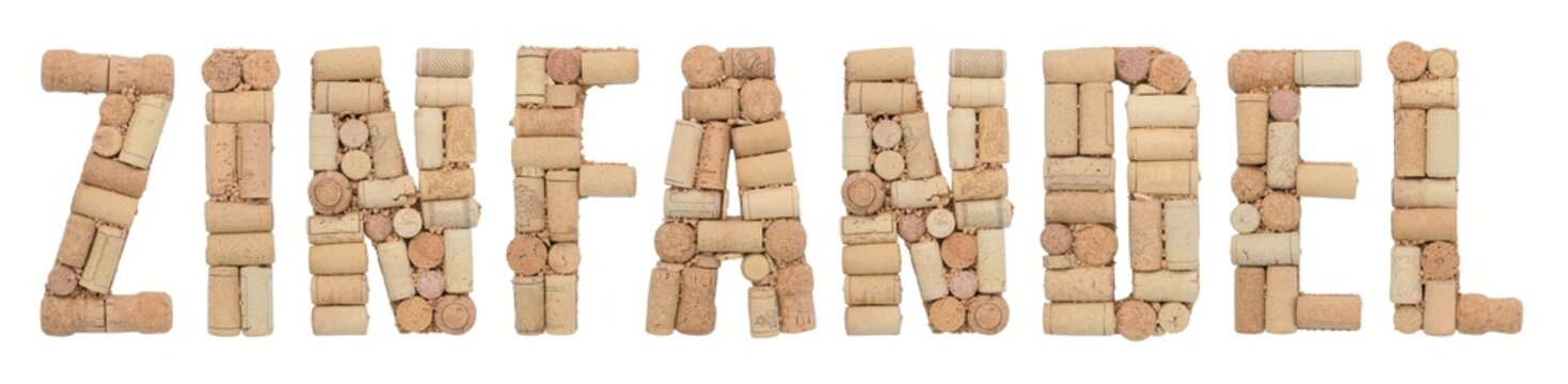 Grape variety Zinfandel made of wine corks Isolated on white background