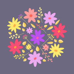 Flower vector illustration. Floral round arrangement with violet, pink and yellow flowers on dark background