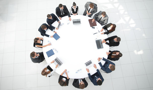 view from the top.meeting of shareholders of the company at the round - table.