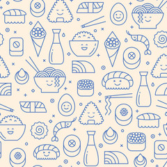 Blue iconic seamless pattern with  typical Japanese cuisine. Ramen, sushi, maki and fish. Pastel beige background. Kawai, line art.