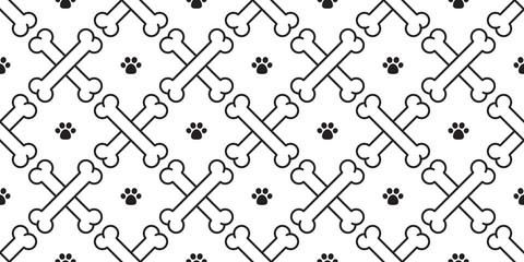dog bone paw seamless pattern vector crossbones wallpaper isolated background white