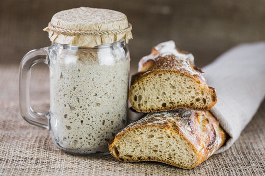 The leaven for bread is active. Starter.sourdough. The concept of a healthy diet