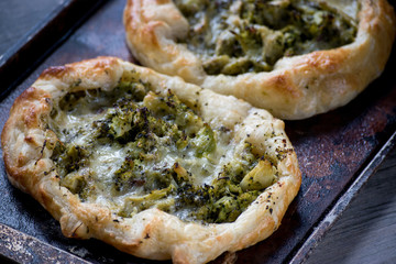 baked puff pastry tart with broccoli and cheese