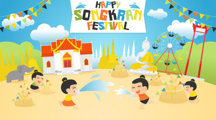 Songkran festival summer, Thai Water Splash with Landmark in Thailand-Vector Illustration