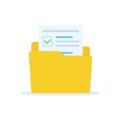 Opened folder with documents. Folders flat design, vector illustration on background.