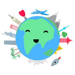 Smiling planet earth with cityes and trees on white background cartoon style vector illustration