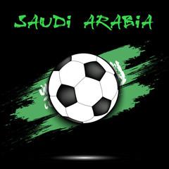 Soccer ball and Saudi Arabia flag