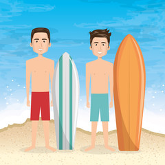 young men in the beach with surfboard vector illustration design