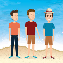 friends in the beach summer vacations vector illustration design