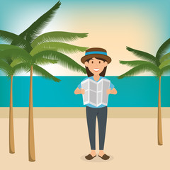 young woman in the beach summer vacations vector illustration design
