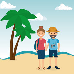 couple in the beach summer vacations vector illustration design